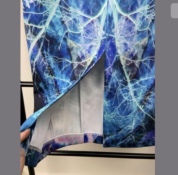 White Suede sz 8 blue purple galaxy scuba midi dress party wedding cocktail