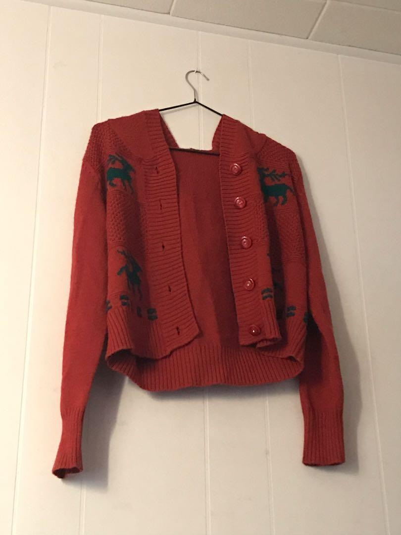 Wool Blend Red and Green Christmas Hooded Button Up Cardigan