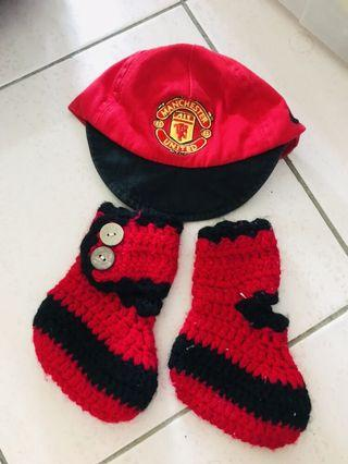 Manchester United Baby Hat & knitted shoes