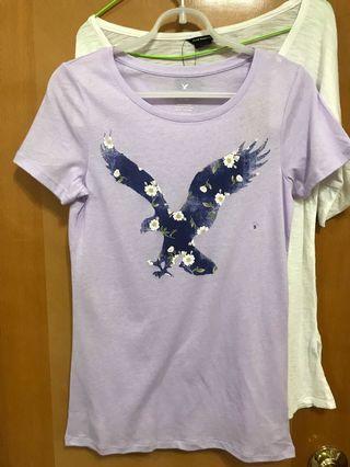 全新American Eagle香芋紫短袖T恤 lavender logo tee