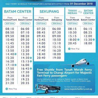 Batam majestic ferry ticket 2 way includes surcharge and taxes