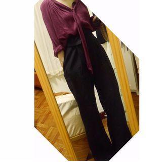 MANGO 酒紅色綁帶簍空紗質襯衫