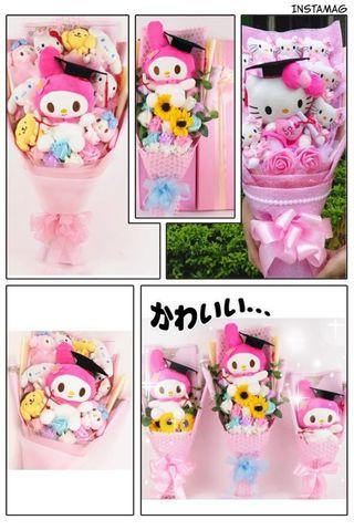 🚚 Hello Kitty & My Melody Bouquet Everlasting Soap Flowers Marriage Proposal Toy Bouquet