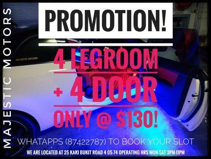 Legroom+Door light @ Only $130!
