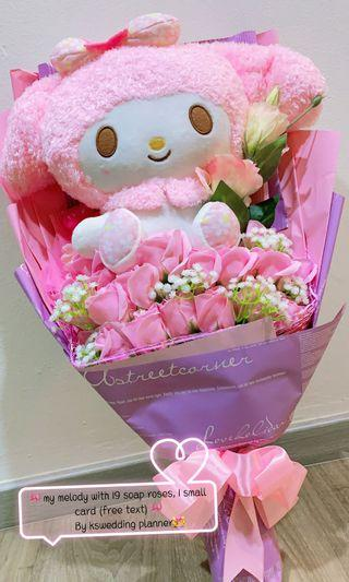 🚚 🎀Ready stock🎀My melody bouquet Super sweet pink with soap roses everlasting flowers excellent choice for marriage proposal