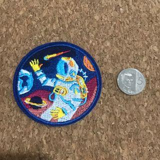 Blue astronaut iron on sew on patch