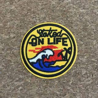 Stoked on life surf iron on sew on patch