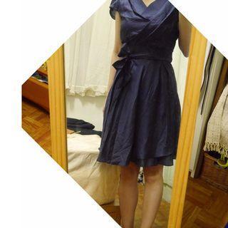 深藍色絲光交叉v領綁帶洋裝