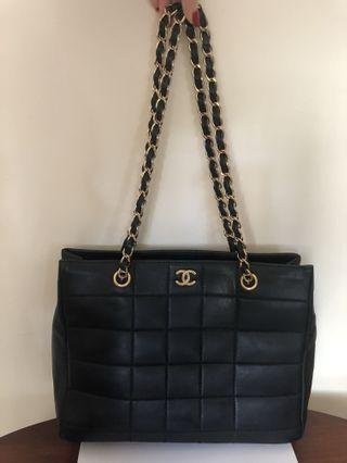 Vintage CHANEL Black Lambskin Chocolate Bar Tote *Dust bag and authenticity card provided