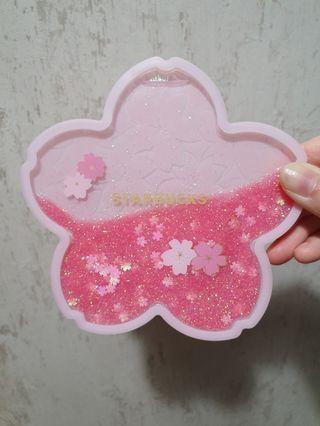Starbucks Sakura Coaster with Flowing Glitters