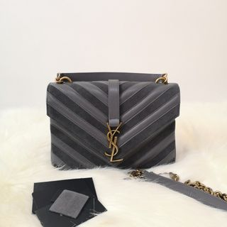 03a29ffd76a ON HAND: Authentic Yves SAINT LAURENT Calfskin Suede Matelasse Chevron  Medium Monogram College Bag