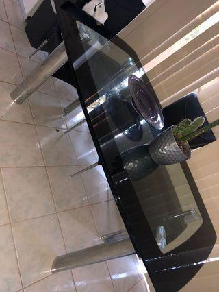 Glass metal dining table