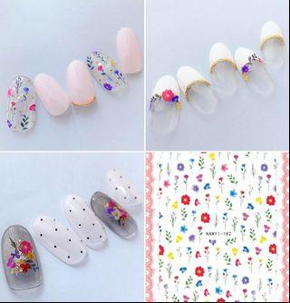 BNIP Small multicolour Wildflowers wild flowers floral botanical Garden nail stickers nail art nail decal