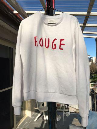 "White Crew Neck Cotton On with ""ROUGE"" In Red"