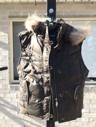 Faux Fur Detachable Collar Hood Quilted Puffer Jacket Vest Parka