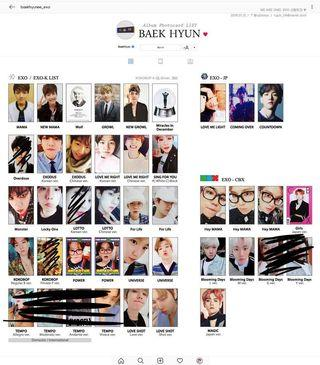 WTB EXO Baekhyun photocards