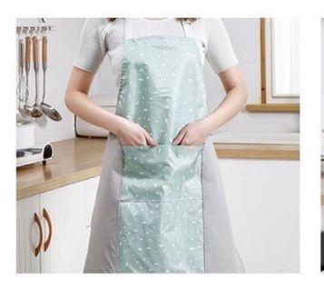 🚚 全新 可擦手拼接防水圍裙 綠色