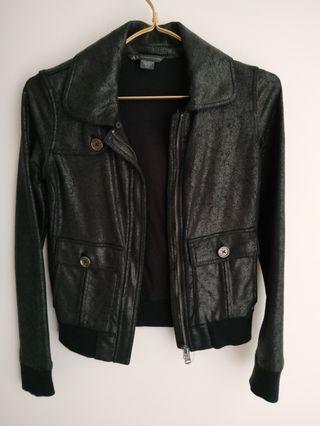 Authentic Armani Exchange Women Black Leather Jacket (XS)