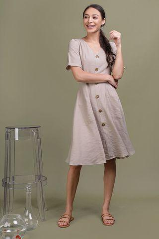 TTR Landon Sleeved Button Midi Dress (Wheat)