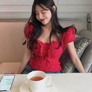 Red cotton sweetheart top