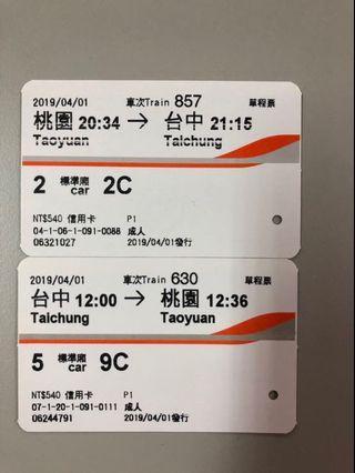 高鐵車票《2019/4/1桃園➡️台中來回》僅供收藏*