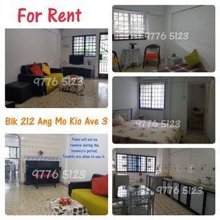 3NG Whole unit For Rent (Immediate) Blk 212 ANG MO KIO AVENUE 3