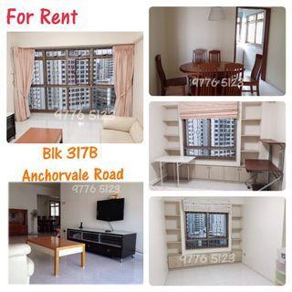 5 Room HDB For Rent - Blk 317B Anchorvale Road (Walk to Sengkang MRT)