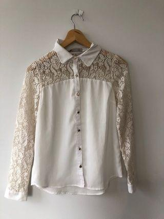 White Button Up Shirt with Lace Detailing