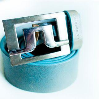 J Lindeberg blue leather belt