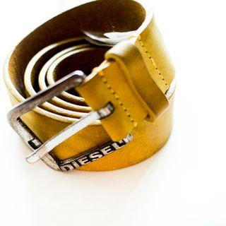 Diesel yellow leather belt