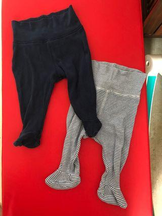 Set of 2 Navy long pants with booties