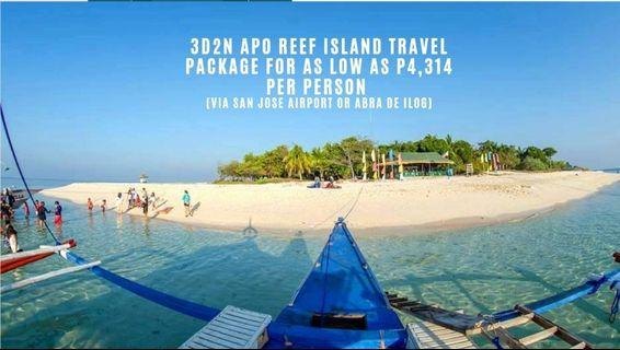 3D2N Apo Reef Island Travel package for as low as P4,314 per person (via San Jose airport or Abra de Ilog)