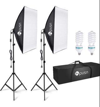 Softbox Lighting Kit Professional Studio Photography Continuous Equipment with 85W 5500K E27 Socket Light and 2 Reflectors 50 x 70 cm and 2 Bulbs for Portrait Product Fashion Photography