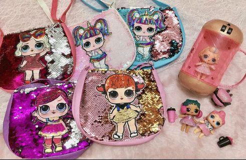Cute Lol surprise little girl sequins bag  #MRT Punggol #MRTSengkang