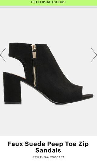 Black Suede Peep Toe Ankle Boots (Size 6)