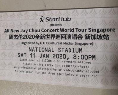 Jay Chou Concert 2020 Cat 2 (Physical ticket)
