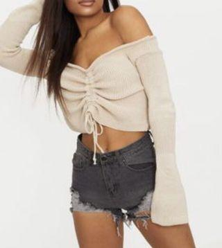 Pretty Little Thing Stone Ruched Knit
