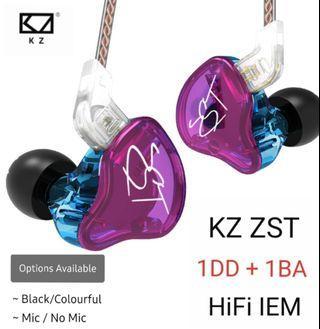 🚚 KZ ZST Pro (1DD + 1 BA) HiFi IEM with/without Mic + Foam Tips + 1 Month Warranty 《INSTOCK》
