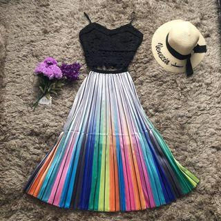 Rainbow Gradient Pleated Skirt
