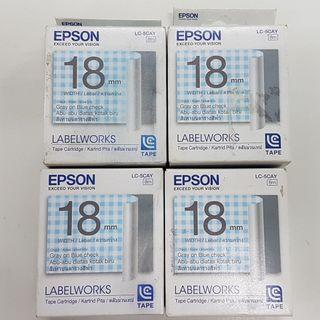 [CLEARANCE] EPSON C53S626616 LC-5CAY 18MM GRAY ON BLUE CHECK TAPE (PER UNIT)