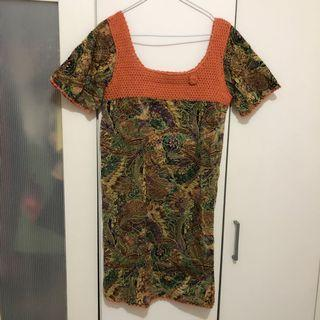 Dress Batik / mididress square knit shoulder fit to XL