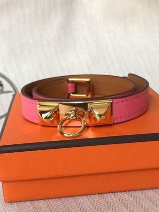 Hermes Rivale Rose Azalee Bracelet - S