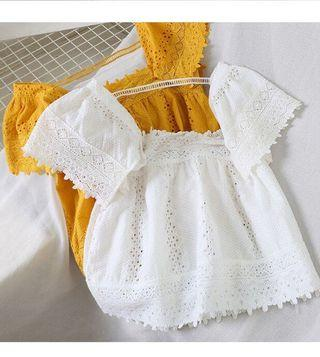 PO Crochet Eyelet Lace Off Shoulder Square Doll Top