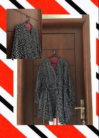 black kimono flowery ruffle top