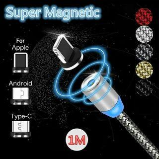 1M Kabel Charger USB Magnetic 2.4A Type C/iOS/Micro USB