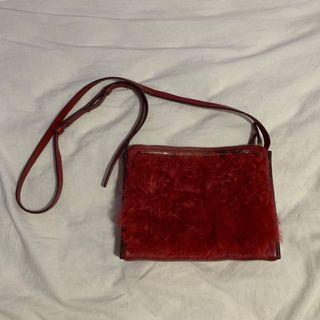 Rabeanco red faux fur 3 way crossbag