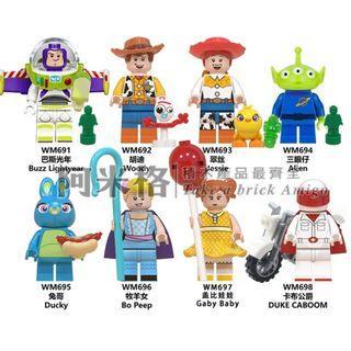阿米格Amigo│WM691-698 一套8款 巴斯光年 胡迪 小叉 Forky 翠絲 阿得 三眼仔 賓尼 寶貝 嘉比嘉比 勁爆公爵 反斗奇兵4 Toy Story 玩具總動員 動畫 積木 第三方人仔 非樂高但相容 滿30隻包郵