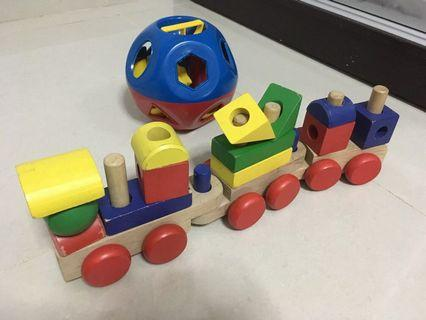 Wooden train and shape sorter