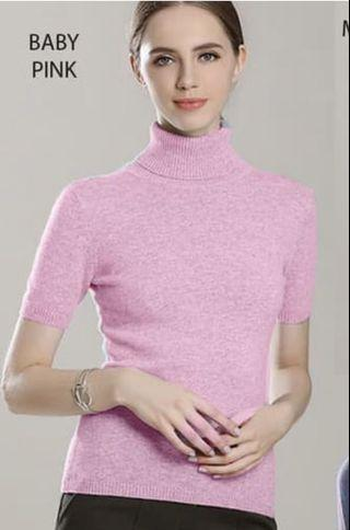Turtle neck knit baby pink