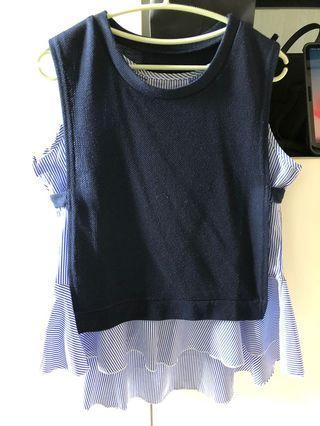 一套兩件藍色背心直條衣服